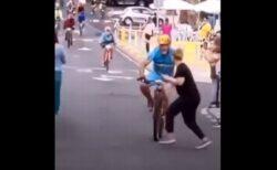 自転車レースでゴール直前、先頭の選手が観客と衝突、優勝を逃す
