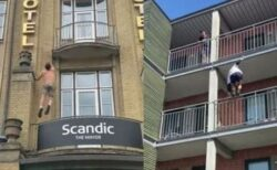 どんな建物でもすいすい登っていく、フリークライマーの技が見事